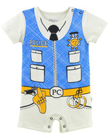 FREE SHIPPING NWT Baby Summer Short Sleeve Clothes / Romper POLICE style 6~24 Months (1171)