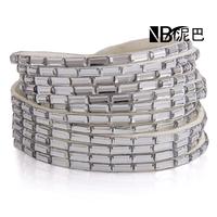 Free Shipping New Fashion 6 Layer Leather Bracelets Factory Glass Crystal  Charm Bracelets