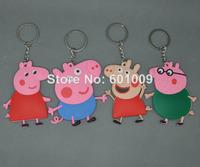 Free Shipping 20/Lot Cute 4 pcs Peppa Pig Family DADDY MUMMY Peppa GEORGE Keychains PVC Key Chains Pendants Baby Toys 7.5CM