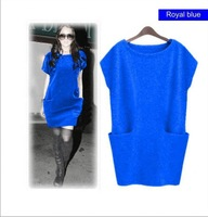 2014 Round -neck Dolman Short Sleeve SWEATER Loose-Fit Knit Tunic Pullover TOP   for summer