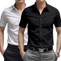S-XXXL Hot Sale 2014 Summer Men's Short-sleeved Lapel Cotton Shirt Men's Casual buckle Sleeve Slim Shirts Free Shipping