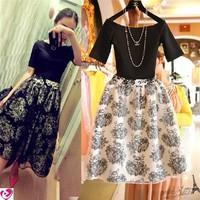 Fashion vintage 2014 slit neckline organza high waist flower one-piece dress twinset summer free shipping*