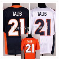 Free shipping 2014 Nesest #21 Aqib Talib Men's Elite Football Jersey size: 40-56 , Mix Order