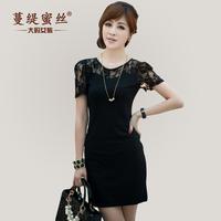 Honey wire 2014 summer puff sleeve slim one-piece dress black lace Dress plus size female MM