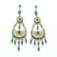 NEW ARRIVAL 2014 women dangle earrings gold elegant Aegean Sea light blue tassel drops 507