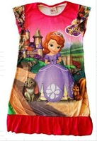 2014 new frozen and sofia Princess girl's nightgown cartoon princess dress wholesale  children's dresses size S M L XL to choose