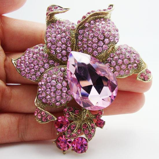 Fashion pink crystal rhinestone brooch pin flowers pendants beautiful girl decoration(China (Mainland))
