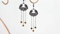 Black fashion Sterling Silver wings of the angel tassel earrings