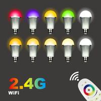 2.4G E27 RGB+White led bulb rgbw + 4-Zone Wireless RF Touch Remote RGB bulb light led