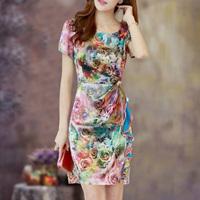 2014 quality slim elegant silk one-piece dress fashion plus size women's mulberry silk print slim hip  free shipping*
