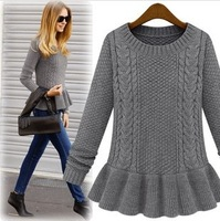 New arrival Fashion 2014 autumn fashion vintage skirt twist o-neck sweater female pullover sweater free shipping