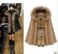 2014 New Fashion Summer European And American Women Hooded Fur Collar Woolen Cape Coat Jacket  WBZ0055