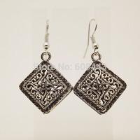 EQ029 Cute Tibetan Silver Hollow Rhombus Drop Dangle Fashion Vintage Earrings For Women  Wholesale 2014 New Jewelry