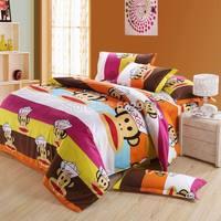 children Promotion Free Shipping  2014 New Arrival  cotton 4pcs/3pcs duvet cover cartoon sheet  pillowcase BIG MOUSE MONKEY7