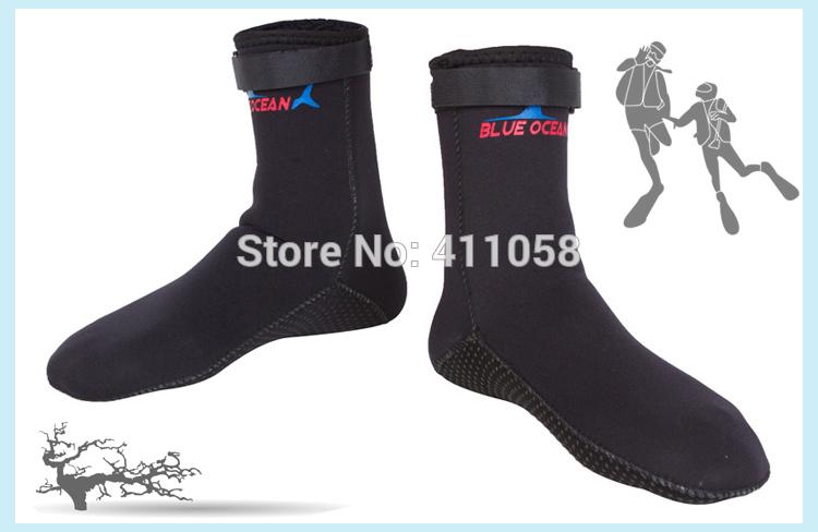 BLACK 3mm Thickeness Anti-slip Soles Thermal Socks Adjustable Belt Velcro Swimming Socks Diving Boots(China (Mainland))