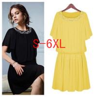 2014 New Summer Women Fashion Batwing Sleeve Chiffon Shaped Dress Female Plus Size Casual Knee-length Dress S-6XL Free shipping