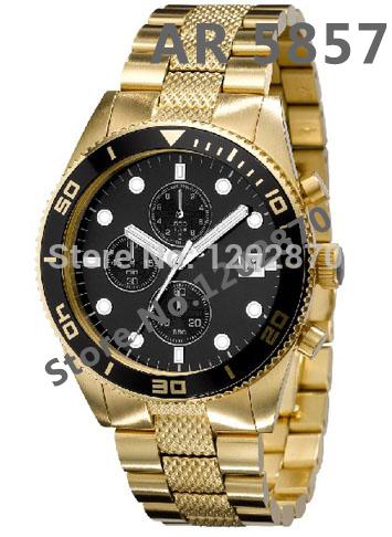 New AR5857 AR 5857 Mens  Quartz Chronograph  Gold tone Steel Watch Chronograph Blue Dial Wristwatch Original Box  Free Shipping(China (Mainland))