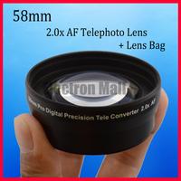 58mm 2.0X Telephoto Lens + Lens Bag for Canon 350D 400D 450D 500D 550D 600D 700D 650D 7D 60D 1000D 1100D T5i T4i T3i T3 18-55mm