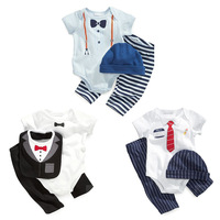 2014 baby boy Romper+Gat+Pants  infant One-piece Jumpers gentleman bow nectie babies clothes kid clothing