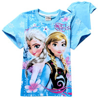 wholesale 2014 fashion Frozen children girls t shirt 100% cotton kids girl tees t shirt clothing baby fashion clothing