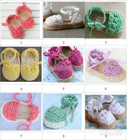 HOT sale! Crochet baby sandals first walker shoes infant slippers tie pearl button 0-12M double sole cotton free shipping