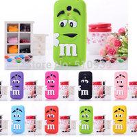 1pcs For Samsung Galaxy S4 mini i9190 Rubber M&M Fragrance Chocolate Case, for Samsung s4 mini M Rainbow Beans case