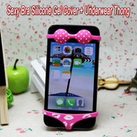 NEW Sexy Bra Silicone Gel Cover + Underwear Thong Home Button Cover For Apple iPhone 4 4S 5 5S Free Shipping
