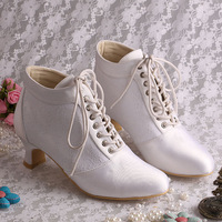 Best Selling Chunky Low Heel White Lace Bridal Wedding Boots Short Winter Lace-up FREE SHIPPING