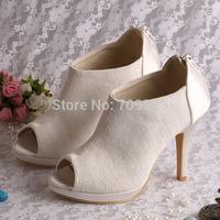 High Quality Custom Heel Ivory Lace Peep Toe Wedding Bridal Ankle Boots High Heels Zipper FREE SHIPPING