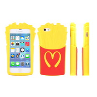 3D French Fries Silicone Soft Rubber Back Cover Case For iphone 5 5G 5S