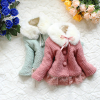 new 2014 girl's woollen clothes with fur collar children winter clothes,high quality baby girls jacket & coat lace kid outerwear