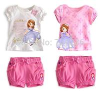 RETAIL summer Baby Girls clothing sets girl's Sofia princess Bow flower sets short-sleeve shirts+short Children's clothing sets