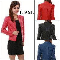 2015 New Fashion Women's Leather Jacket Short Slim Coat Puff Sleeve Plus Sizes 4XL 5XL Black/Red/Blue/Pink Jaqueta De Couro