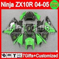 Green black 7gifts+ For KAWASAKI NINJA ZX10R 04-05 2004 2005 Body Factory green C1921 ZX-10R ZX 10R ZX 10 R 04 05 Fairing Kit