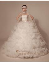 Best qualtiy luxury wedding dress new bride cake style sexy strapless wedding dress plus size lace trailing wedding gown pearl