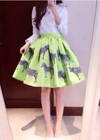 2014 New Womens vogue fashion  skirts   women skirt ball gown  print  Zebra solid green cotton  WA