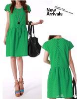 2014 New Hot Fashion women cozy clothing casual girl dress summer women dress  cute dot casual a line cotton WA