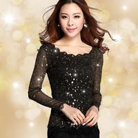 new  2014 Spring  Women Blouses Lace Gauze Render Unlined Upper Garment Of Female Long Sleeves Blouse Size S-XXXL 828