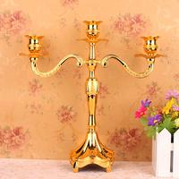 3-branch silver plated alloy metal center pice candelabra candelabrum candle holder set home wedding decoration 234-3