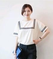 2014 New Hot Fashion women cozy clothing blouse casual girl shirt summer women T-shirt loose striped casual cute cotton  WA