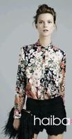 2014 New Hot Fashion women cozy clothing blouse casual girl shirt women shirt print flower cool casual silk  WA