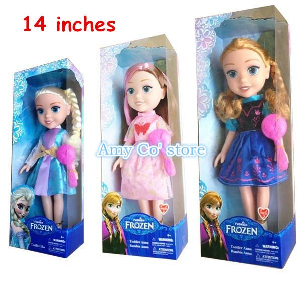 """Congelati principesse bambola con la musica, anna Elsa baby doll mini bambole giocattoli action figure congelato congelato 14"""" 3pcs/lot spedizione gratuita"""