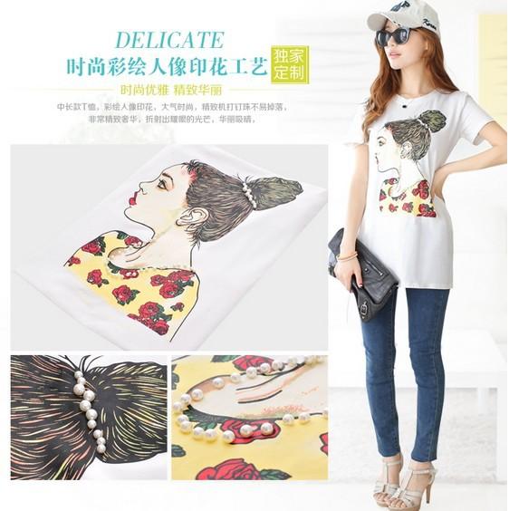 100% Cotton T shirt Head Printed Long length T shirt New Style T shirt Women T shirt Free Shipping(China (Mainland))