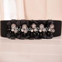 New Arrival 2014 High-Quality Ribbon Crystal Beaded Women Wide Cummerbunds Luxury Fashion Ladies Waist Belts Cintos Femininos