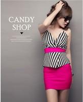 2014 new hot women summer dress fashion cozy cloth summer dress elegant noble girl dress buds stripe knit ruffles sexy dress  WA