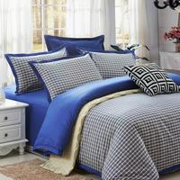 Free shipping plaid home textile 100% cotton quality yarn dyed satin four piece set medium-large