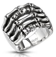 Wholesale Lot Men's Boy's Stainless Steel Skeleton Finger with Skull & Cross Cast Ring