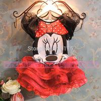 Retail Brand 2014 New Summer Girl Mickey Dress Kid Princess Dresses Girls tutu Dress Children cartoon lace dress