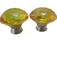 Freeshipping 10pcs 40mm Crystal Glass Cupboard Wardrobe Cabinet Door Drawer Kitchen Knobs Handle-Amber