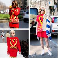 2014 Summer Magazine Mcdonald Long Design T-shirt Women's Fashion Short-sleeve Red and white T-shirt